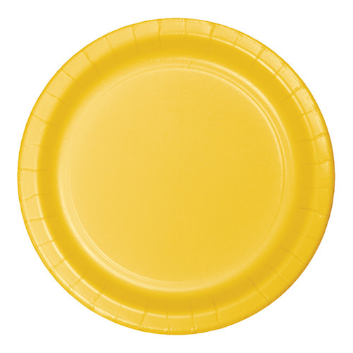"Creative Converting School Bus Yellow - Plates, 10"" Round Paper 24ct"