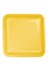 "Creative Converting School Bus Yellow - Plates, 7"" Square Paper 18ct"