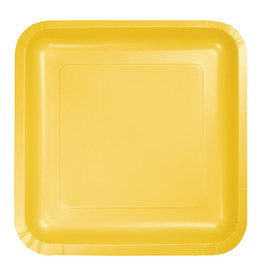 "Creative Converting School Bus Yellow - Plates, 9"" Square Paper 18ct"