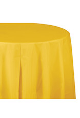 "Creative Converting School Bus Yellow - Tablecover, 82"" Rnd Plastic"