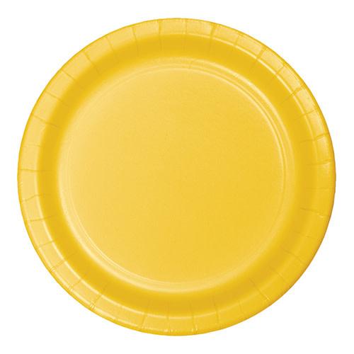 "Creative Converting School Bus Yellow - Plates, 7"" Round Paper 24ct"