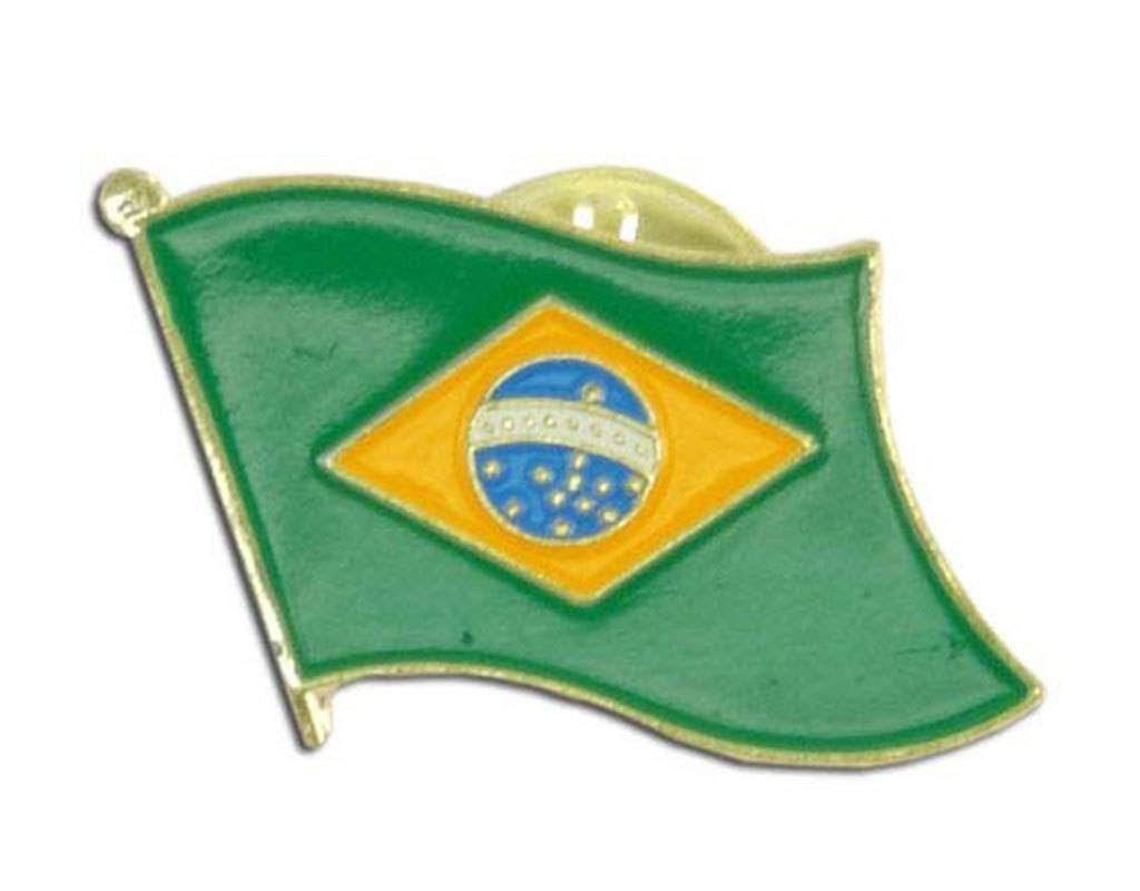 Popcorn Tree Lapel Pin - Brazil Flag