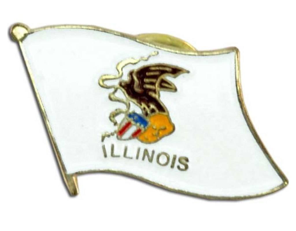 Popcorn Tree Lapel Pin - Illinois Flag