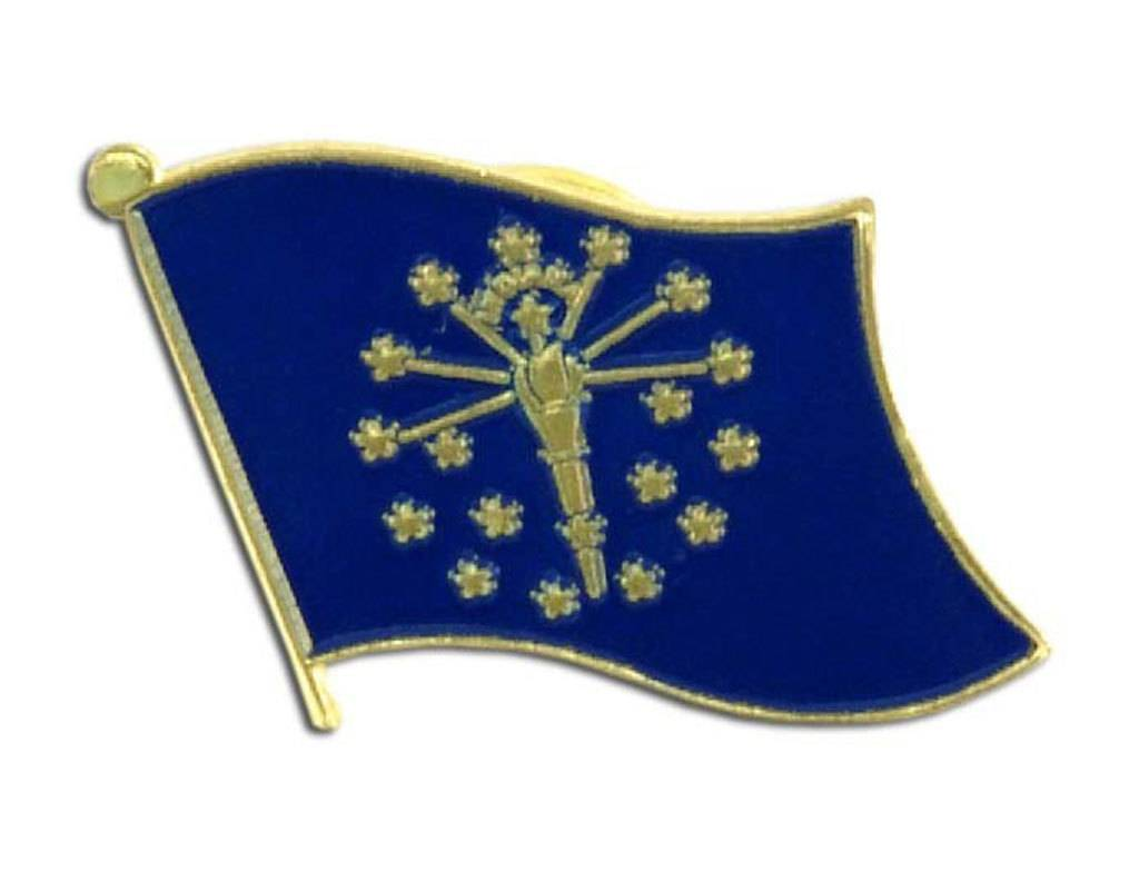 Popcorn Tree Lapel Pin - Indiana Flag