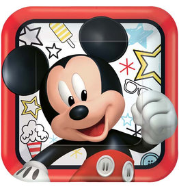 "Mickey on the Go 9"" Square Plates"