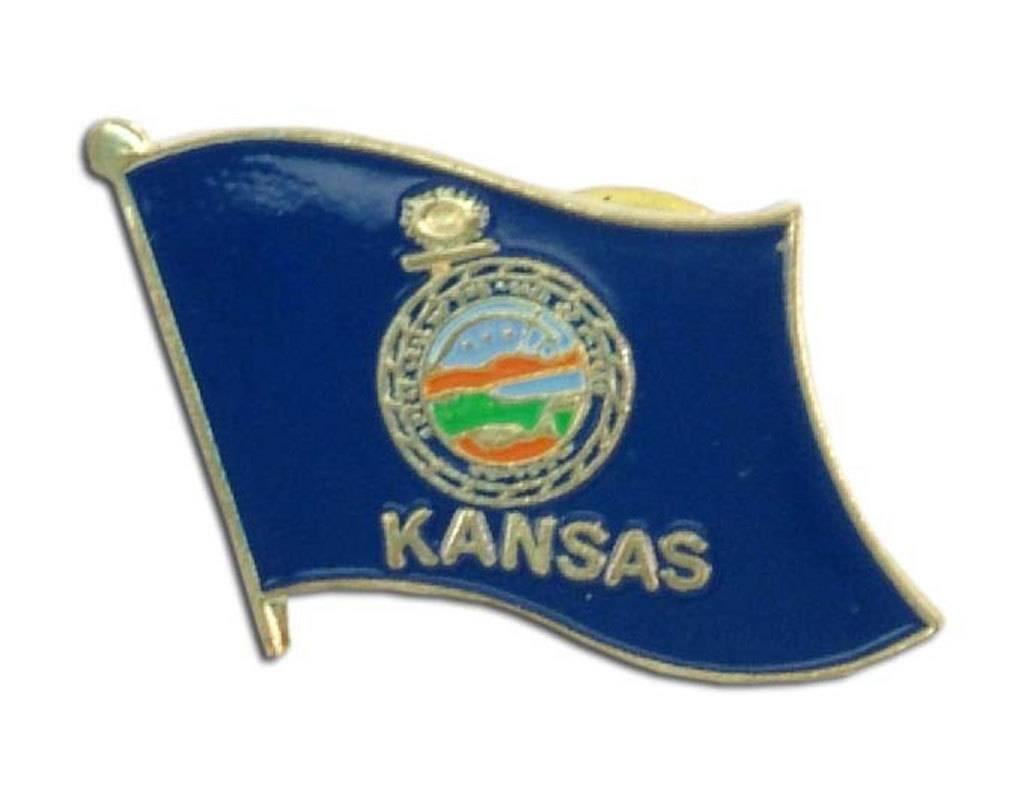 Popcorn Tree Lapel Pin - Kansas Flag