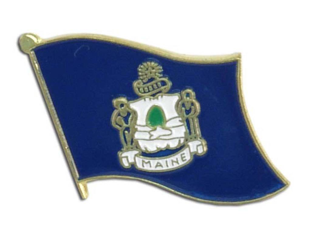 Popcorn Tree Lapel Pin - Maine Flag