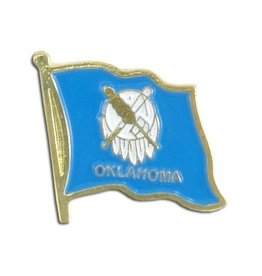 Popcorn Tree Lapel Pin - Oklahoma Flag