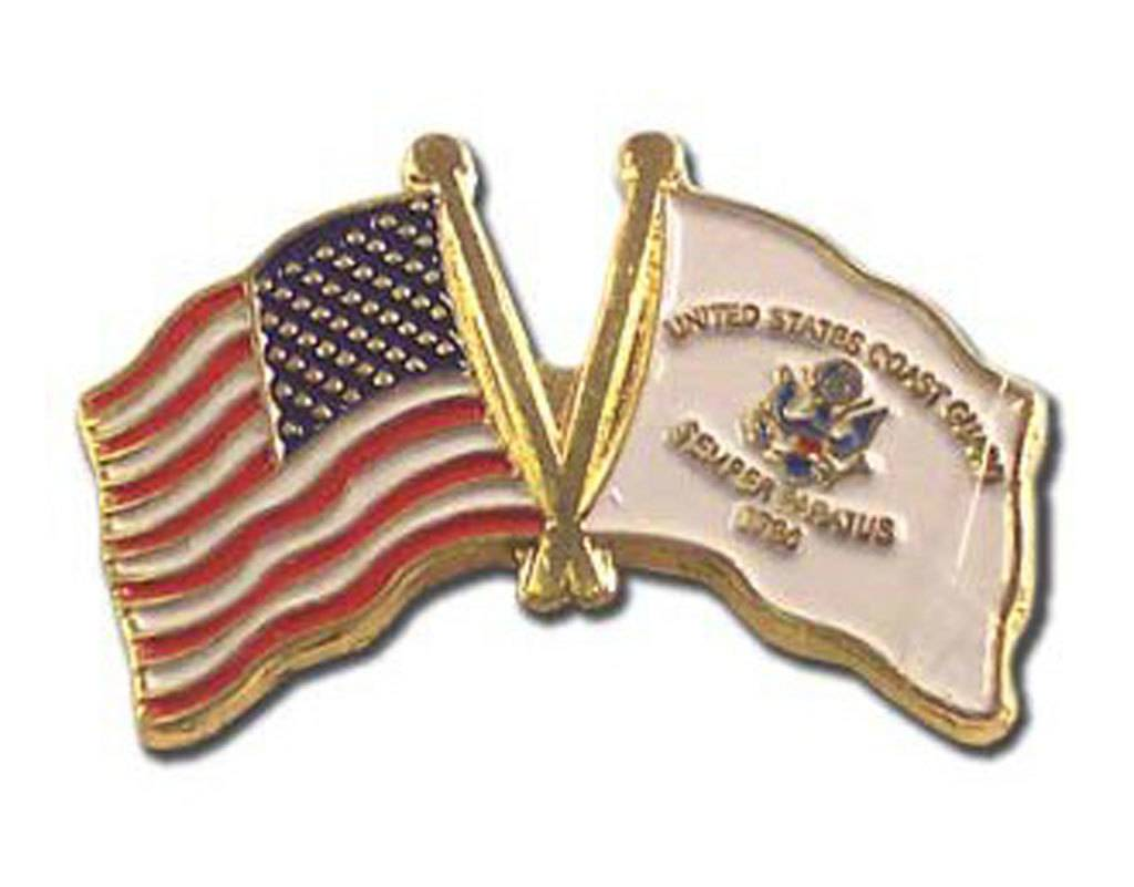 Popcorn Tree Lapel Pin - US and Coast Guard Flags