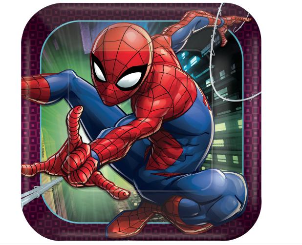 "Spider-Man™ Webbed Wonder Square Plates, 9"""
