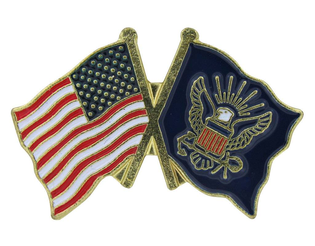 Popcorn Tree Lapel Pin - US and Navy Flags