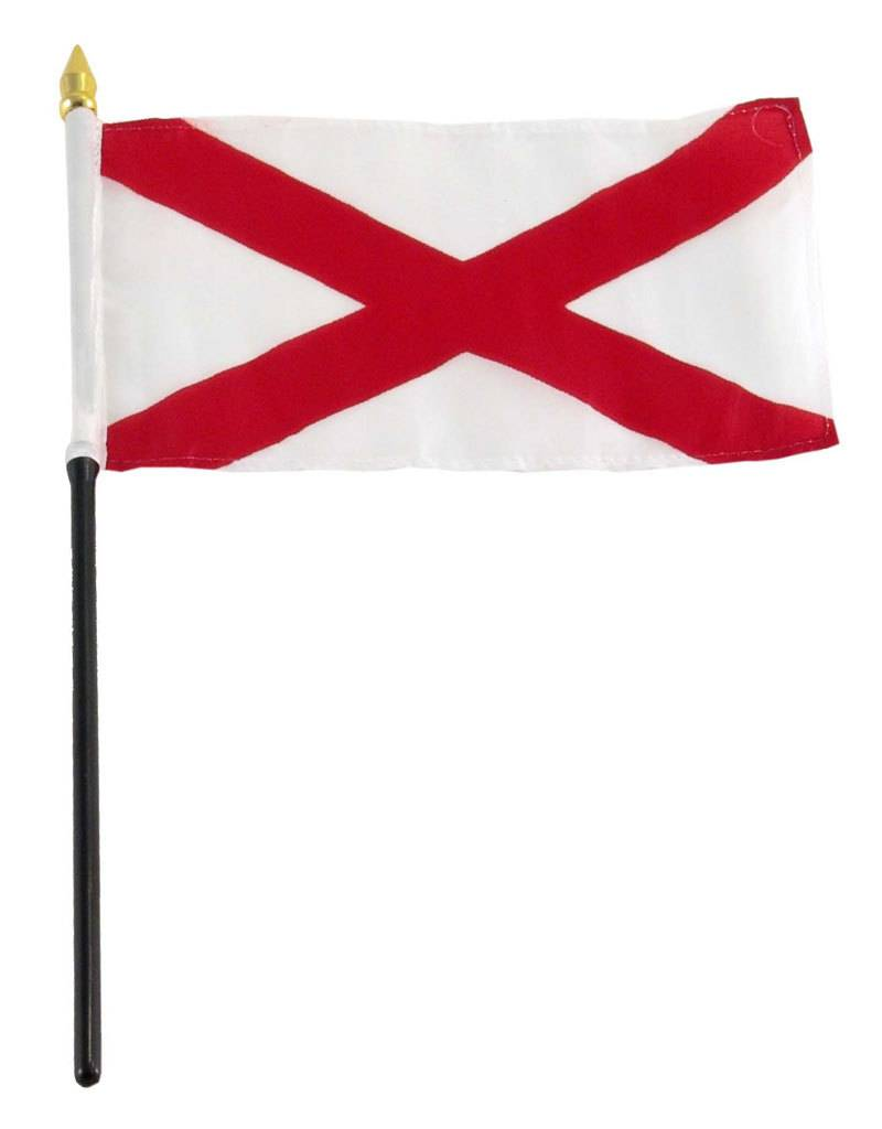 "Popcorn Tree Stick Flag 4""x6"" - Alabama"