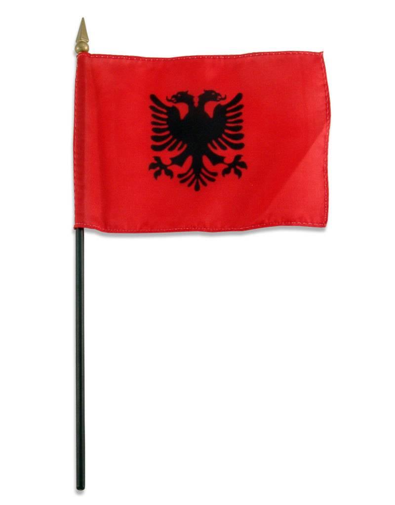 "Popcorn Tree Stick Flag 4""x6"" - Albania"