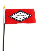 "Popcorn Tree Stick Flag 4""x6"" - Arkansas"