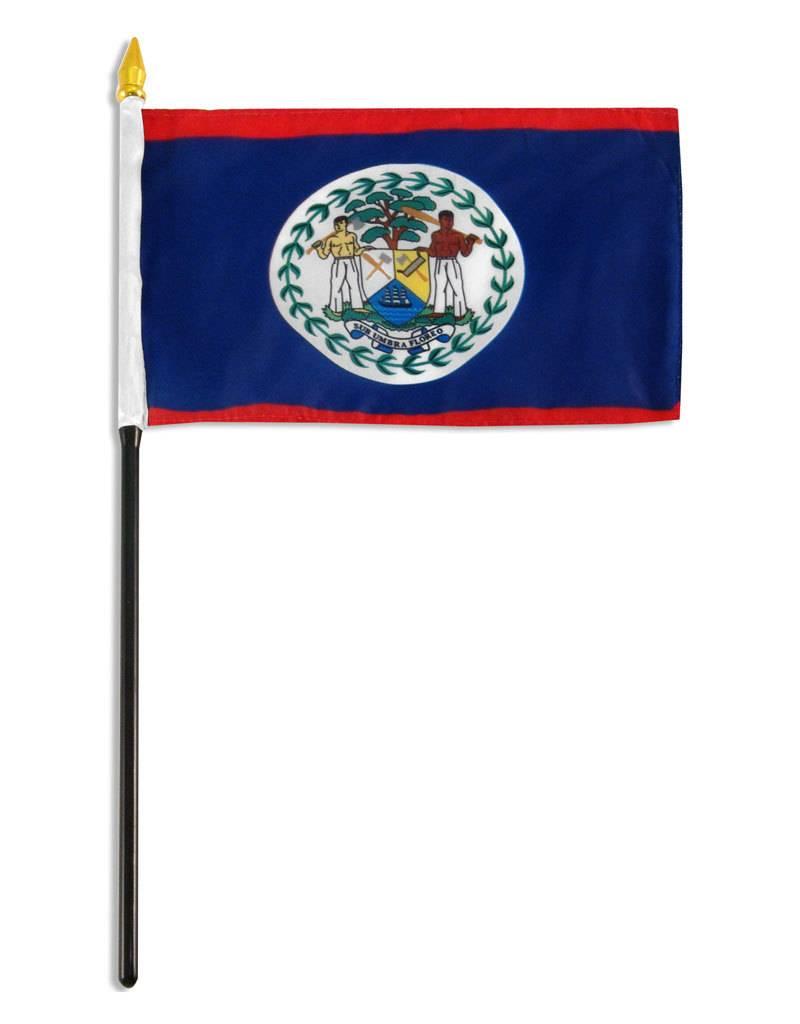 "Popcorn Tree Stick Flag 4""x6"" - Belize"