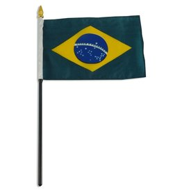 "Popcorn Tree Stick Flag 4""x6"" - Brazil"