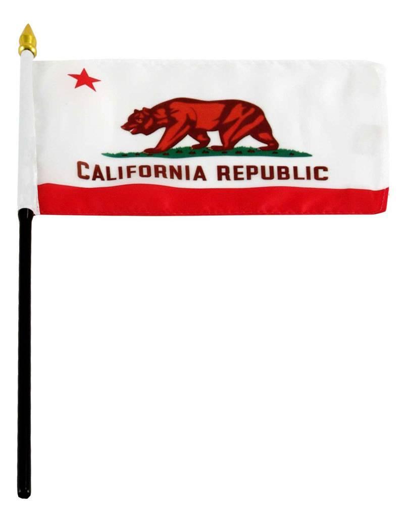 "Popcorn Tree Stick Flag 4""x6"" - California"