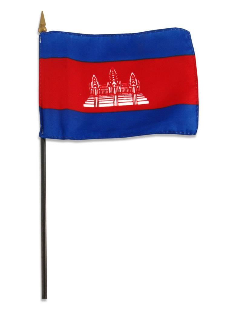 "Popcorn Tree Stick Flag 4""x6"" - Cambodia"