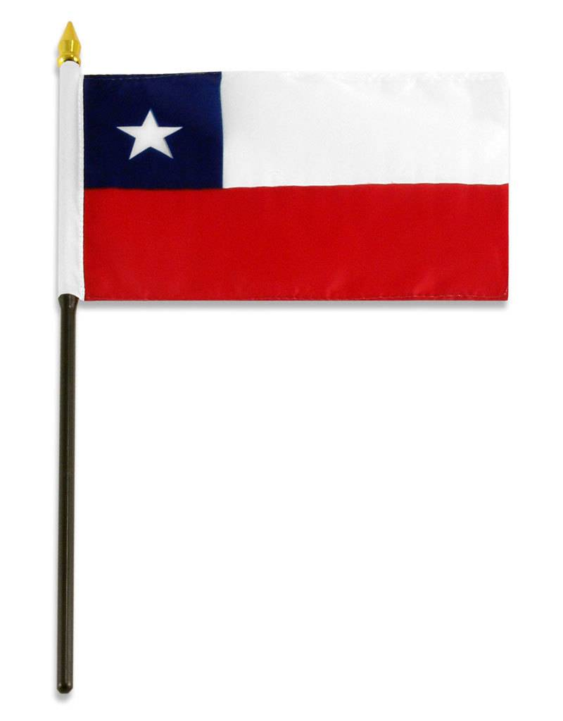 "Popcorn Tree Stick Flag 4""x6"" - Chile"