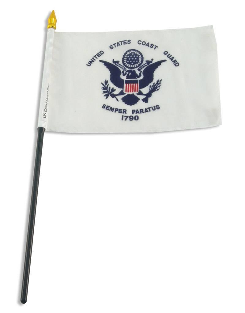 """Popcorn Tree Stick Flag 4""""x6"""" - Coast Guard"""