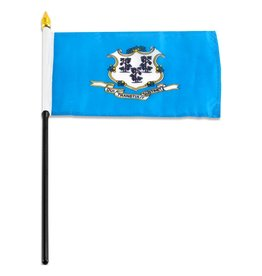 "Popcorn Tree Stick Flag 4""x6"" - Connecticut"
