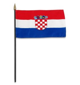 "Popcorn Tree Stick Flag 4""x6"" - Croatia"