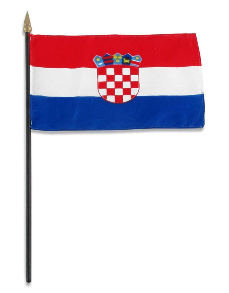 "Popcorn Tree Stick Flag 4""x6"" - Croatia"