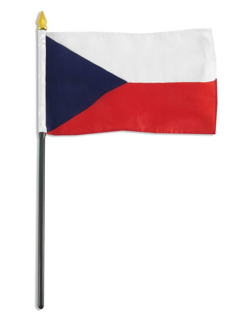 "Popcorn Tree Stick Flag 4""x6"" - Czech Republic"
