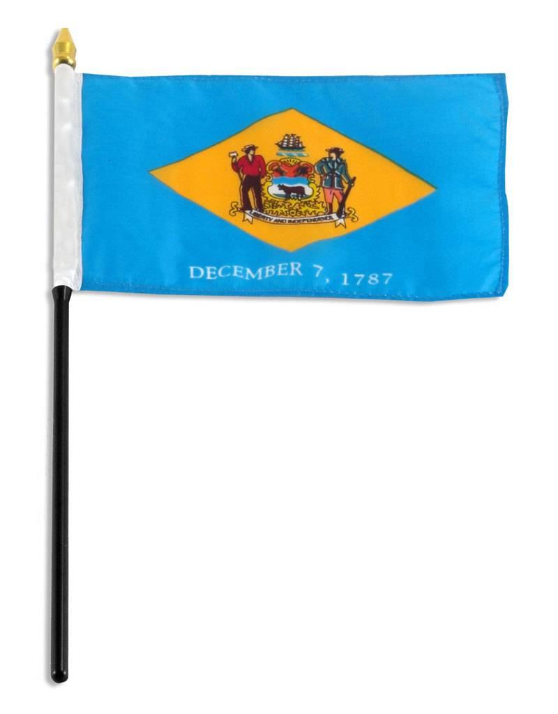 "Popcorn Tree Stick Flag 4""x6"" - Delaware"