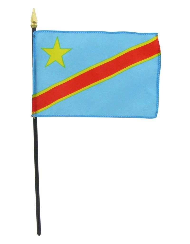 "Popcorn Tree Stick Flag 4""x6"" - Democratic Republic of Congo"