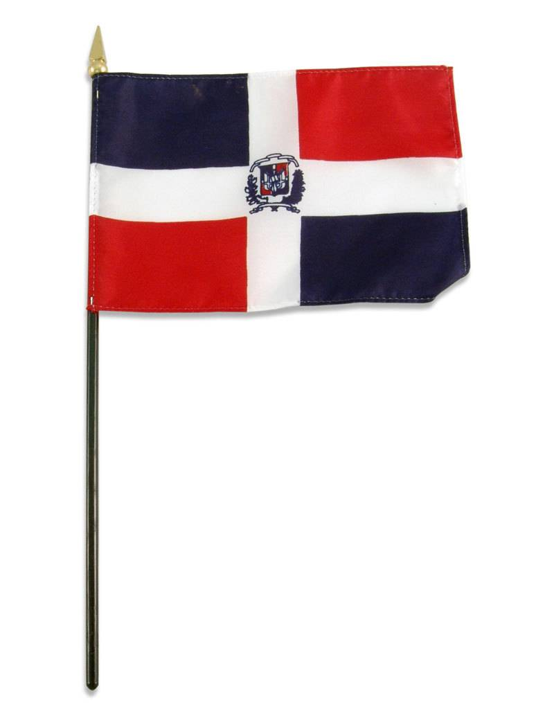 "Popcorn Tree Stick Flag 4""x6"" - Dominican Republic"