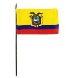 "Popcorn Tree Stick Flag 4""x6"" - Ecuador"
