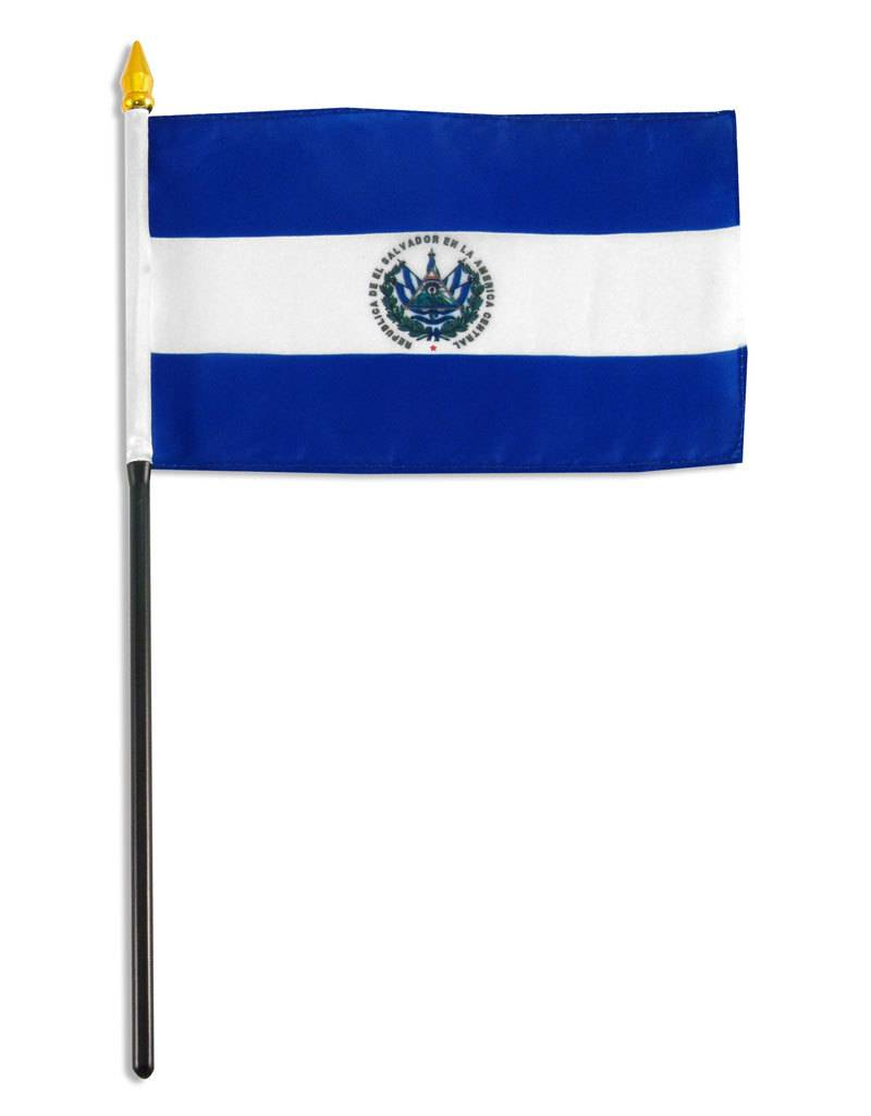 """Popcorn Tree Stick Flag 4""""x6"""" - El Salvador"""