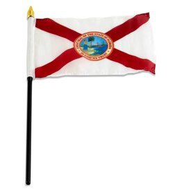 "Popcorn Tree Stick Flag 4""x6"" - Florida"