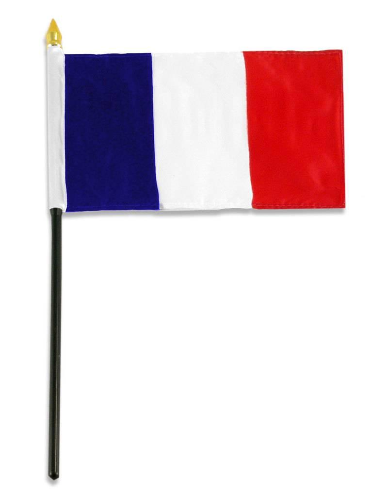 "Popcorn Tree Stick Flag 4""x6"" - France"