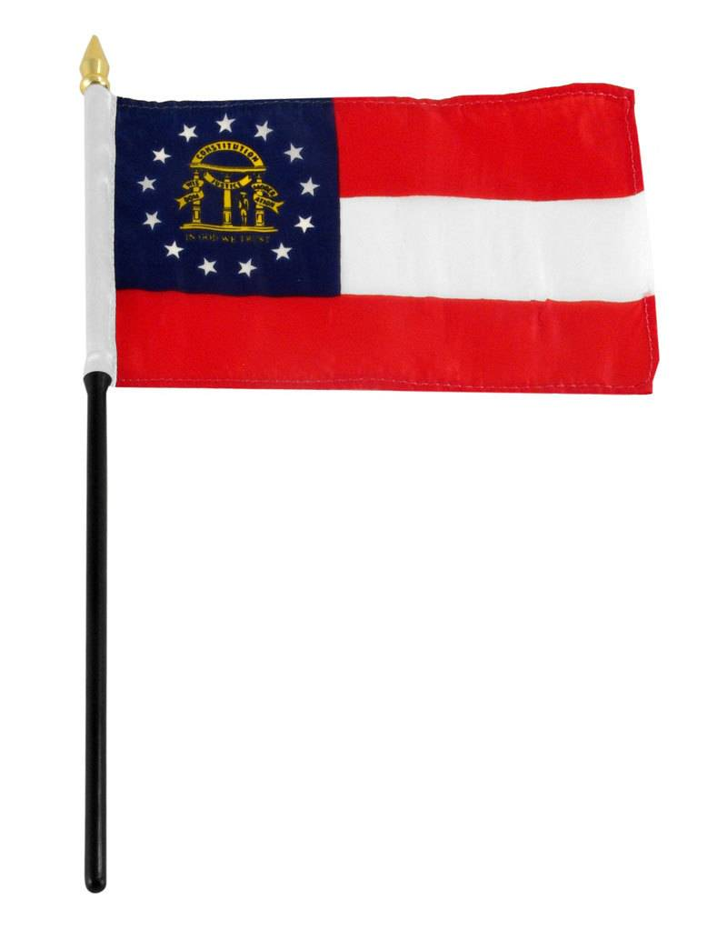 "Popcorn Tree Stick Flag 4""x6"" - Georgia"