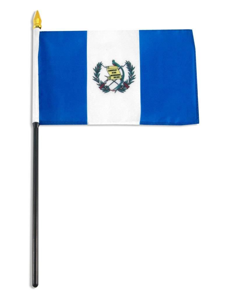 "Popcorn Tree Stick Flag 4""x6"" - Guatemala"
