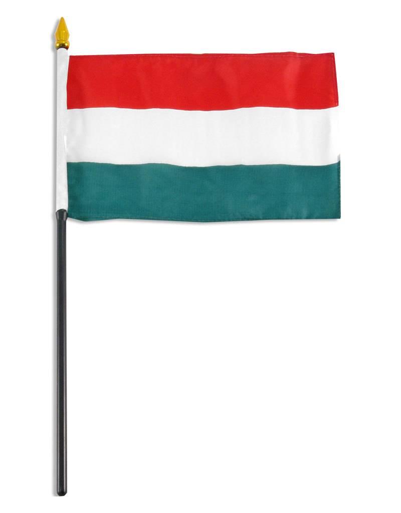 "Popcorn Tree Stick Flag 4""x6"" - Hungary"
