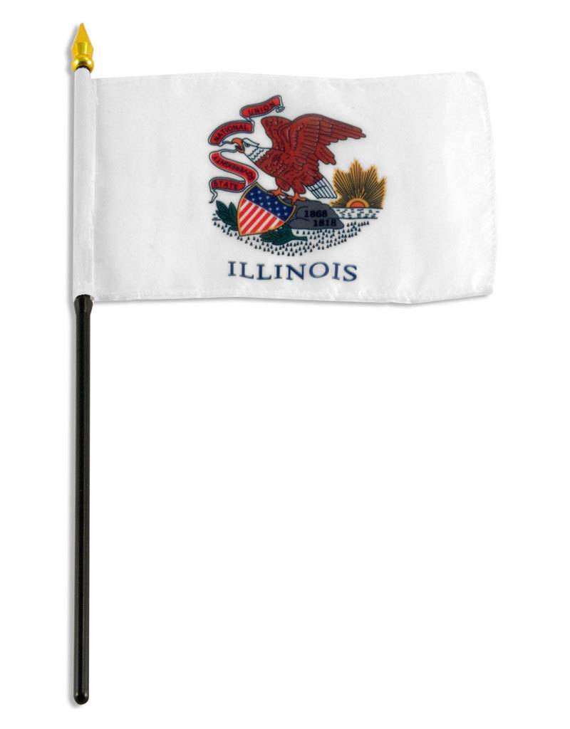 "Popcorn Tree Stick Flag 4""x6"" - Illinois"