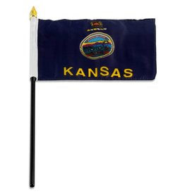 "Popcorn Tree Stick Flag 4""x6"" - Kansas"