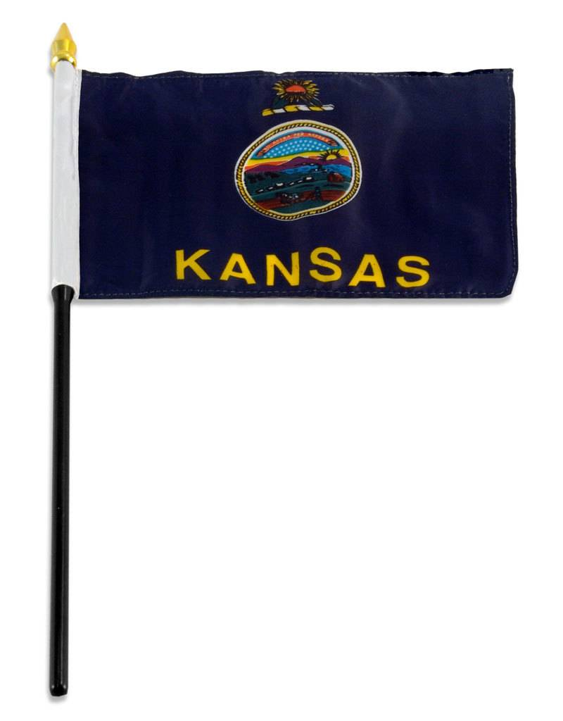 "Popcorn Tree Stick Flag 4""x6"" - Kansas"