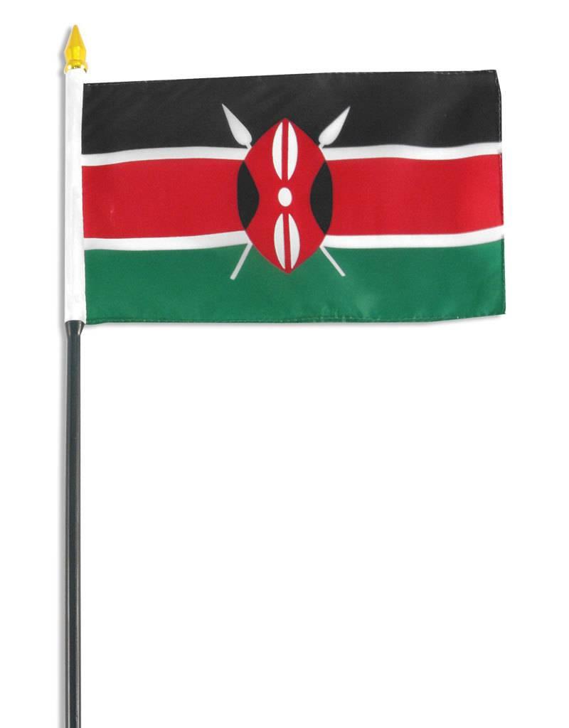 "Popcorn Tree Stick Flag 4""x6"" - Kenya"