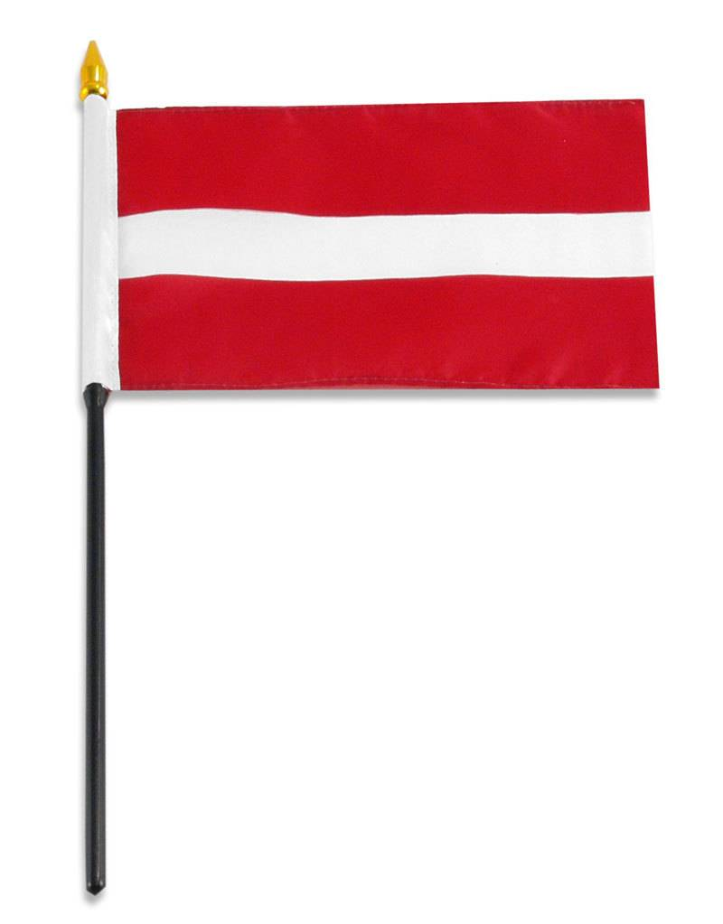 "Popcorn Tree Stick Flag 4""x6"" - Latvia"
