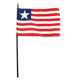 "Popcorn Tree Stick Flag 4""x6"" - Liberia"