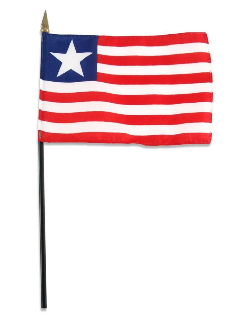 "Popcorn Tree Stick Flag 4""x6"" - Liberia"