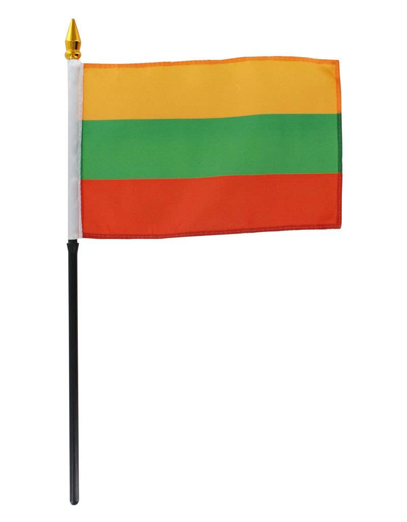 "Popcorn Tree Stick Flag 4""x6"" - Lithuania"