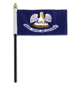 "Popcorn Tree Stick Flag 4""x6"" - Louisiana"