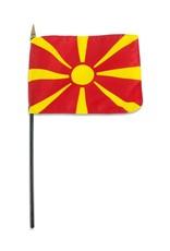 "Popcorn Tree Stick Flag 4""x6"" - Macedonia"
