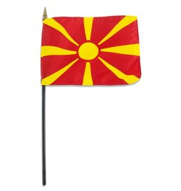 "Popcorn Tree Stick Flag 4""x6"" - Macedonia"