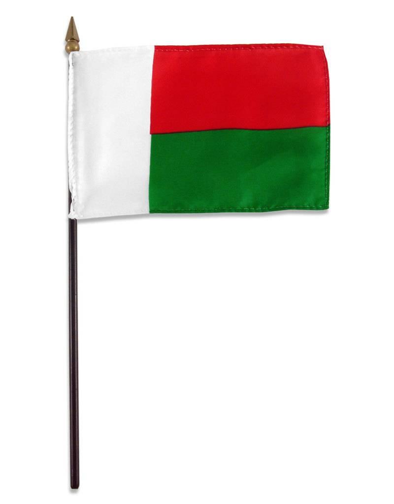 "Popcorn Tree Stick Flag 4""x6"" - Madagascar"